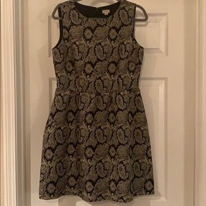 Cremieux Black and Gold Party Dress with Pockets